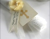 Child's Baptism Confirmation Religious Personalized Yellow Napkin Ring Holder with Layered Tags and Tissue Paper Flower