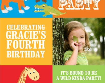Jungle Party photo invitation