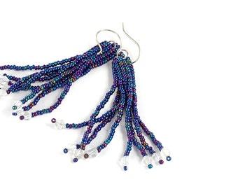 Beaded Tassel Earrings, Dark Blue, Seed Beads, Glass Crystals, Beadwork, Fringe Earrings