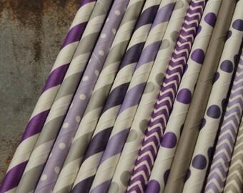 25 Purple & Gray Paper Straws  -- Lavender - Grey Drinking Straws