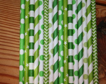 30 St Patricks Day Straws, assorted patterns, paper straws Green
