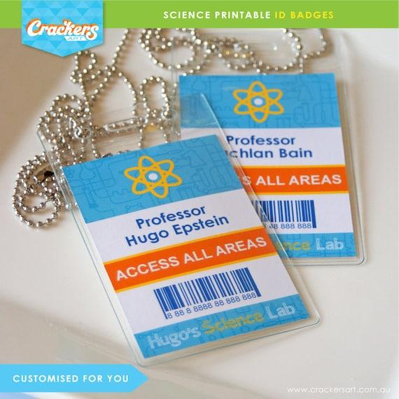 SCIENCE Party Lab ID Badges Blue DIY Printable