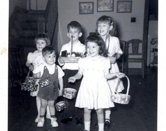Vintage photo Easter BAskets Doris Kreider Kaylor's Children 1958 snapshot