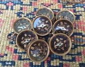 working Compass glass face *BULK DISCOUNT*  Black Gold brass pendant  steampunk hipster nautical camping Men fob  m103