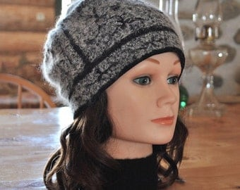 Beautiful one of a kind angora wool hat. 100% recycled angora wool. Perfect gift!  T002