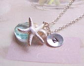 Ocean Themed Necklace - Aquamarine Quartz, Swarovski Pearl, Starfish Charm and Stamped Disc, Personalized Jewelry