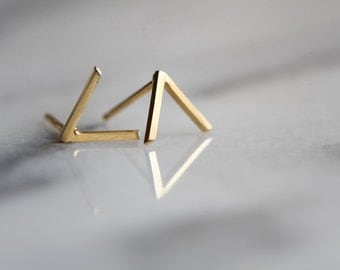 "Peak ""Mountain"" studs.  V shaped. geometric earrings sterling silver or vermeil. 22k gold over silver."