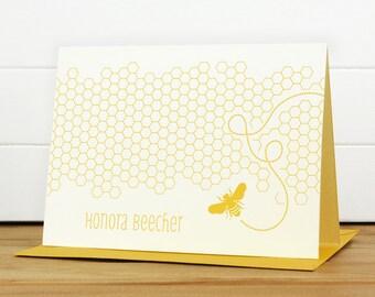 Personalized Stationery Set / Personalized Stationary Set - HONEY Custom Personalized Note Card Set - Bee Honeycomb