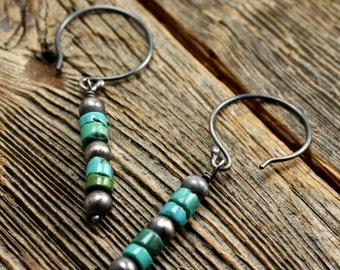 Mohave Earrings in Sterling Silver and Turquoise