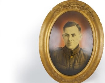 Weird Portrait in Gilt Wood Frame, Canadian Soldier, Large Cast Oval Frame, Ornate Gold. Colorized Black & White Photograph, Odd Portraits.