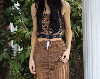 Crochet fringe skirt, FRINGE,  boho fringe skirt, tribal belly dancing skirt pixie skirt, elvin skirt, festival clothing, FESTIVAL skirt
