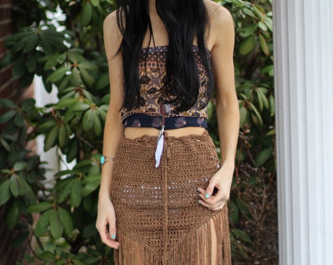 Crochet fringe skirt, FRINGE,  boho fringe skirt, tribal belly dancing skirt pixie skirt, elvin skirt, festival clothing, FESTIVAL skirt