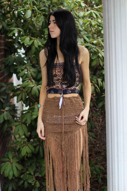 crochet fringe skirt fringe boho fringe skirt tribal belly