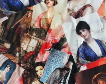 Portrait printed Great Gatsby, Jane Austen Cotton fabric pieces