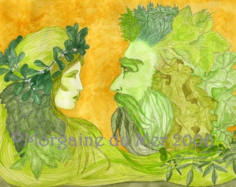Green Woman and Green Man Together Print Nature Mythology Pagan Fantasy Beltaine Handfasting Altar Art Ink Watercolour