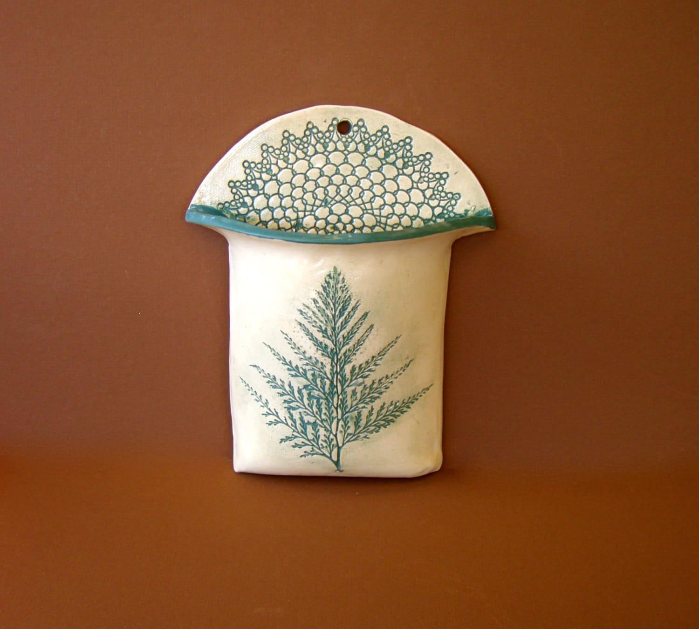 Wall Pocket Vase Handmade Pottery Ferns