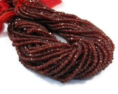 Tiny Garnet Beads, Faceted Natural Red Gemstone Rondelles, 3.5mm - 4mm, 6.5 Inch Strand, Over 60 Gemstone Beads, January Birthstone (R-Ga2)