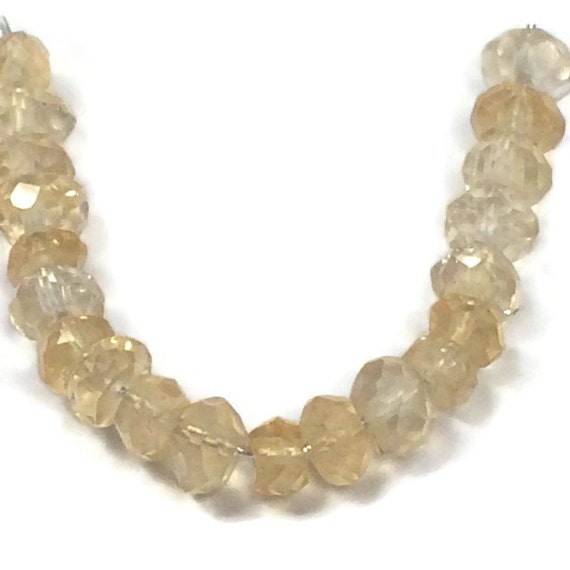 Natural Citrine Beads, Tiny Gemstone Rondelles, Faceted 3.5mm Natural Gemstones for Jewelry Making, 20 Count (L-Ci3)