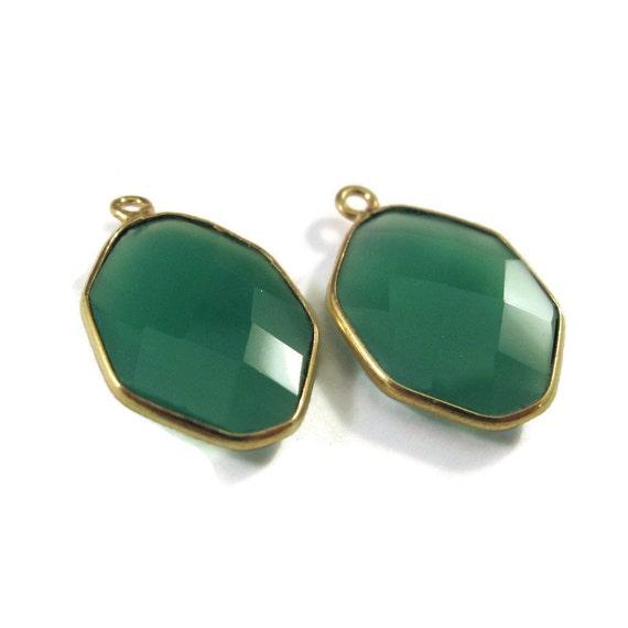 Two Green Onyx Pendants, Matched Pair of Gold Plated Irregular Hexagon Bezel Pendants, 21mm x 13mm (C-Go1b)