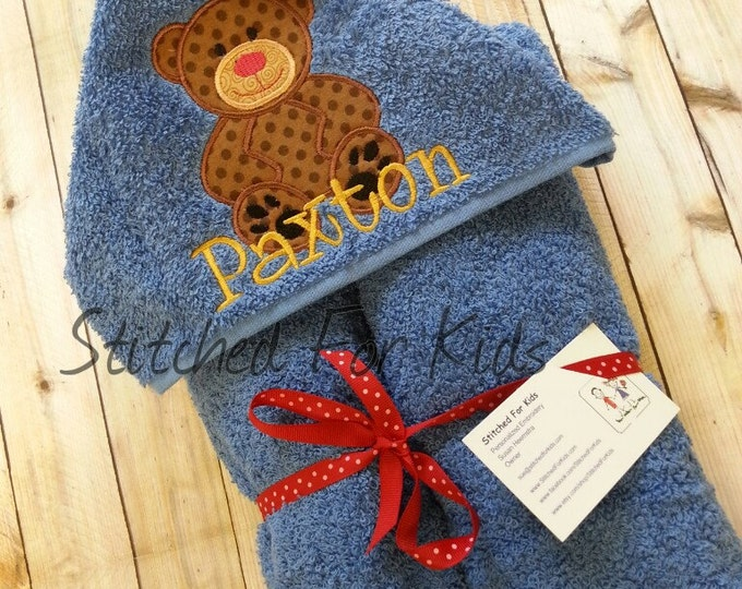 Personalized  Hooded Teddy Bear Towel, Teddy Bear Baby Shower, Teddy Bear Gift, First Birthday Gift