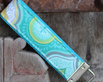 Key Chain-Key Fob-Wristlet- Olivia on Turq-READY TO SHIP