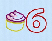 Cupcake Applique 6 Number Machine Embroidery Design File