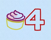 Cupcake Applique 4 Number Machine Embroidery Design File