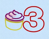 Cupcake Applique 3 Number Machine Embroidery Design File
