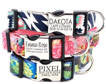 Personalized Lazer Engraved Metal Buckle Dog Collar - 20 Classic Cotton styles to choose from