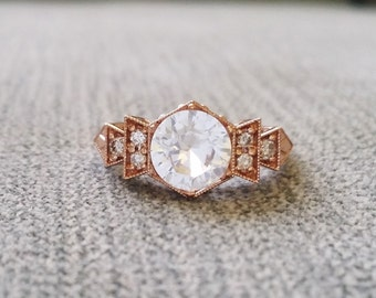 "Antique Diamond White Sapphire Engagement Ring Rose Gold 1920s Copper Gemstone Rustic Bohemian PenelliBelle Exclusive ""The Florence"""