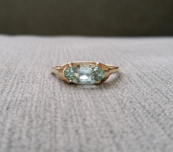 Vintage Aquamarine Engagement Ring Yellow Gold Gemstone