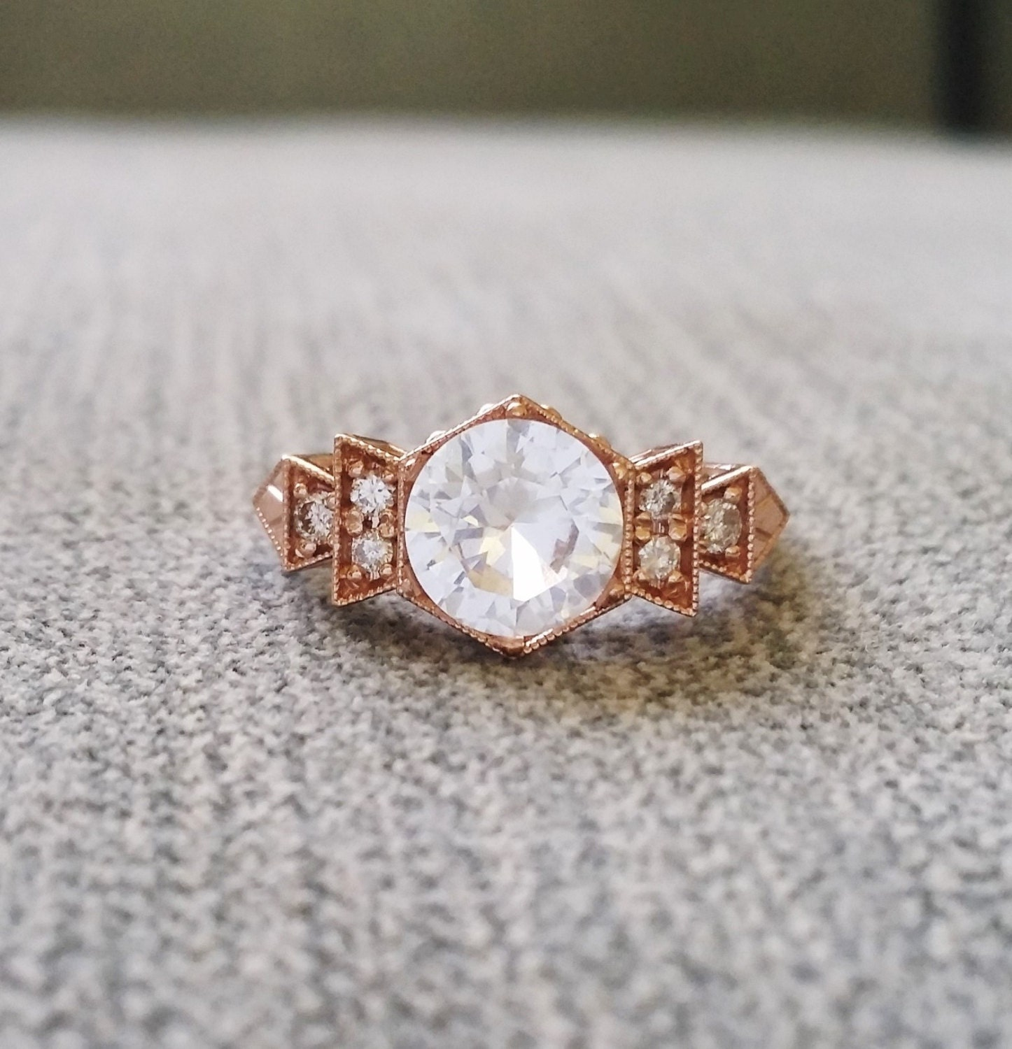 antique diamond white sapphire engagement ring rose gold 1920s