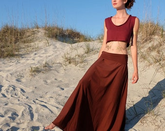 Hemp Stretchy Wanderer Long Skirt ( light hemp and organic cotton Lycra )  - organic skirt :