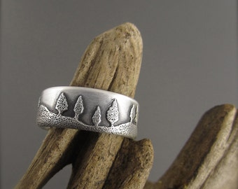 Conifer Forest Sterling Silver Wedding Ring