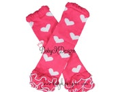Valentine PINK n White HEARTS Ruffle Legwarmers. Newborn Baby Leg Warmers.Girls Cheer Knit Footless Socks Dance Ballet Soccer Dress Up