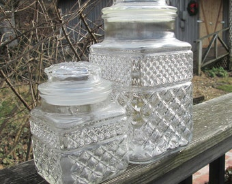 Two Vintage Wexford Glass Canisters - Anchor Hocking