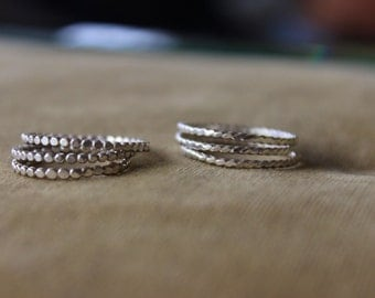 Stacking band ring in Sterling Silver Twisted or beaded wire band ring, Stacking ring