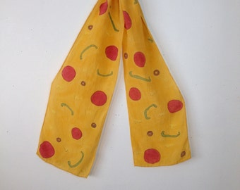 pizza handpainted scarf