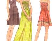 70s Summer dress Summer Style long o short Retro vintage style Sewing pattern Butterick 6627 Sz 10 Cut