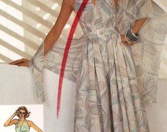 Pinup Halter Jumpsuit or  dress summer beach resort Designer Cathy Hardwick vintage sewing pattern Simplicity 6881 UNCUT Bust 34