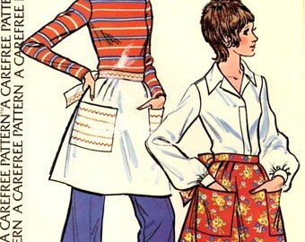 Vintage 70s Apron half apron bakers chef Moms sewing pattern McCalls Sample One size