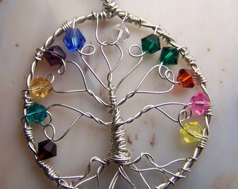 Family Tree necklace pendant-  birthstones - Sterling Silver Swarovski Crystals - Grandmother - Christmas gift Great Grandma - Mom - in law