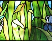 Hummingbird and Irises Stained Glass Pattern