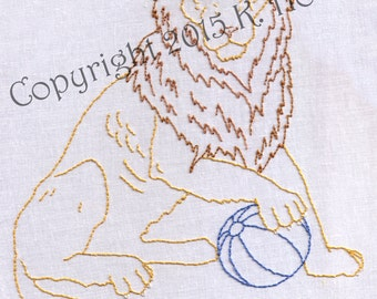 Hand Embroidery Pattern-Lion with a Ball-Circus
