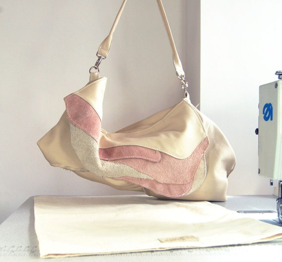 SALE Maria Handmade Cream & Nude Suede And Leather Hobo Shoulder Bag.