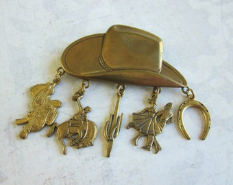 SALE Vintage Western Cowboy Hat Brooch With Charms