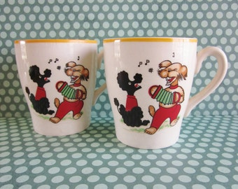 SALE Pair of Vintage KSP England Singing Dogs Childrens Mugs