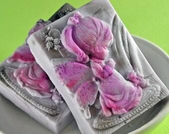 Goat's Milk Soap - Fairy Soap - Jasmine Powder Scent - Floral Soap - Girl Soap - Angel Fairy Soap - Cameo Soap - Party Favor - Shaped Soap