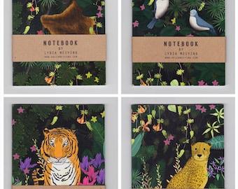 Pack of 4 Mini Jungle Notebooks | Includes Tiger, Cheetah, Orangutan and Birds, size A6