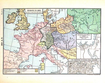 1888 Historical Map - Antique Map - Map of Europe in 1810 - The Age of Napoleon the Great - 11 x 8 World Atlas Map